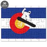 A Snowboarder in a Colorado Flag Puzzle