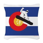 A Snowboarder in a Colorado Fl Woven Throw Pillow