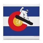 A Snowboarder in a Colorado Flag Tile Coaster