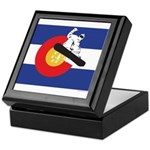 A Snowboarder in a Colorado Flag Keepsake Box