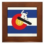 A Snowboarder in a Colorado Flag Framed Tile