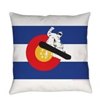 A Snowboarder in a Colorado Flag Everyday Pillow