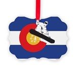 A Snowboarder in a Colorado Flag Picture Ornament