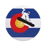 A Snowboarder in a Colorado Flag Round Ornament