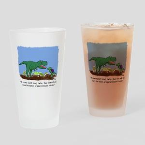 Latin T-Rex Drinking Glass