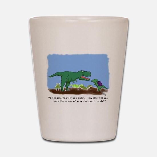 Latin T-Rex Shot Glass