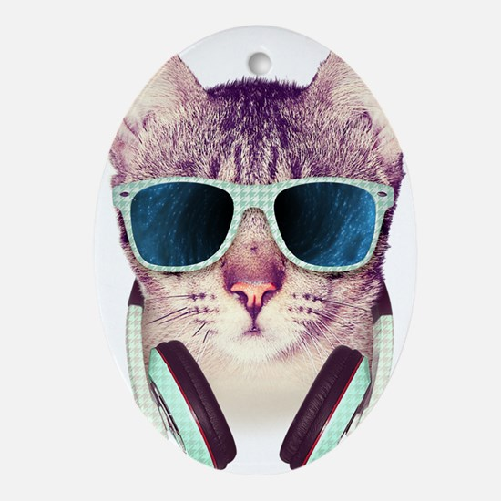 Cat with glasses Oval Ornament