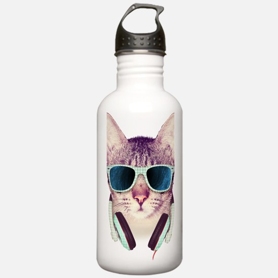 Cat with glasses Water Bottle