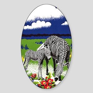Vintage Zebra Art Sticker (Oval)