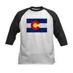 Colorado Pot Leaf Flag Kids Baseball Tee