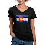 Colorado Pot Leaf Flag Women's V-Neck Dark T-Shirt