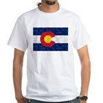 Colorado Pot Leaf Flag White T-Shirt