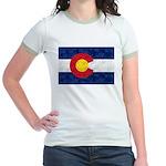 Colorado Pot Leaf Flag Jr. Ringer T-Shirt