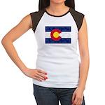 Colorado Pot Leaf Flag Junior's Cap Sleeve T-Shirt
