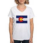 Colorado Pot Leaf Flag Women's V-Neck T-Shirt