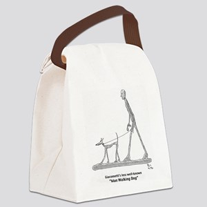 Man Walking Dog Canvas Lunch Bag