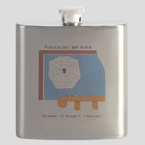 Adolescent boy flies Flask