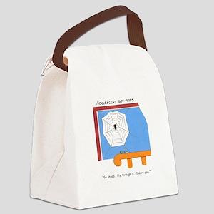 Adolescent boy flies Canvas Lunch Bag
