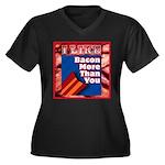I Like BACON M T Y Women's Plus Size V-Neck Dark T