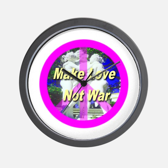 Make Love Not War Wall Clock