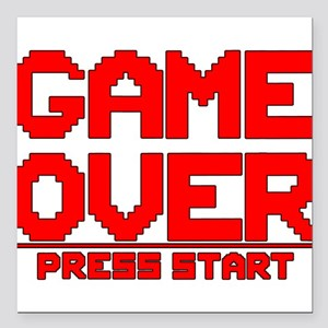 """Game Over Square Car Magnet 3"""" x 3"""""""