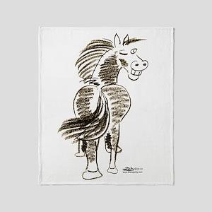 Winking Horse Good Luck! Throw Blanket