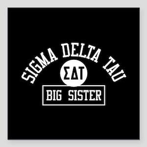 "Sigma Delta Tau Big Sist Square Car Magnet 3"" x 3"""