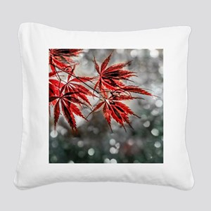 Japanese Red Maple Leaves  Square Canvas Pillow