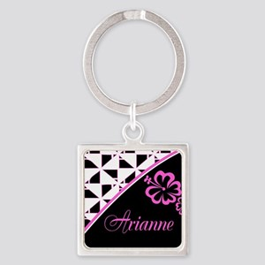 Stylish Hibiscus Pink N Black - Custom Square Keyc