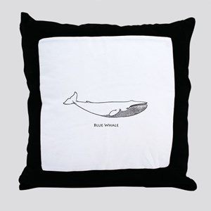 Blue Whale (line art) Throw Pillow