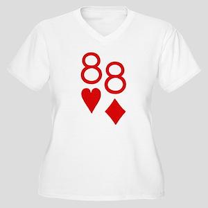 Pocket Eights Poker Women's Plus Size V-Neck T-Shi