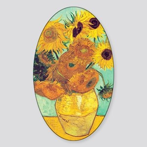 Sunflowers by Vincent Van Gogh Sticker (Oval)