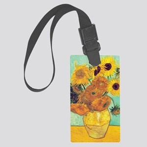 Sunflowers by Vincent Van Gogh Large Luggage Tag