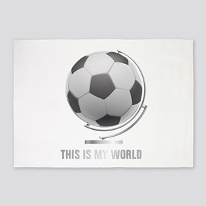 Planet soccer world globe 5'x7'Area Rug