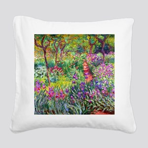 The Iris Garden by Claude Mon Square Canvas Pillow