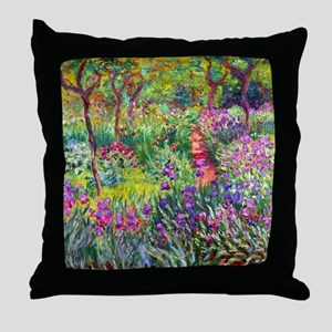 The Iris Garden by Claude Monet Throw Pillow