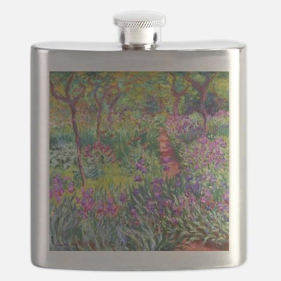 The Iris Garden by Claude Monet Flask