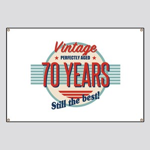 Funny 70th Birthday Old Fashioned Banner
