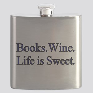 Books.Wine. LIfe is Sweet. Flask