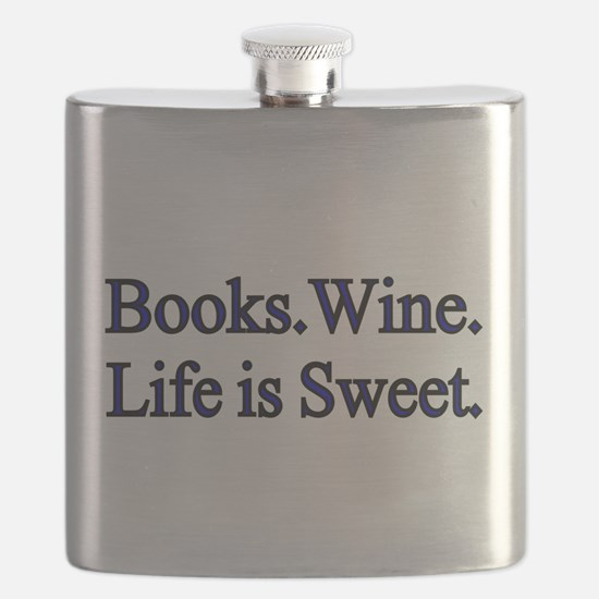 Books.Wine. LIfe is Sweet. Flask