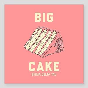 "Sigma Delta Tau Big Cake Square Car Magnet 3"" x 3"""