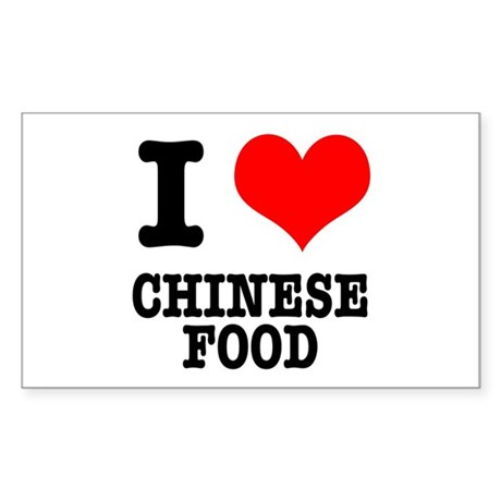 I Heart (Love) Chinese Food Rectangle Sticker