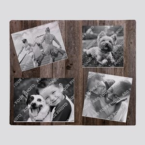 Photo Collage Barn Wood Throw Blanket