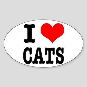 I Heart (Love) Cats Oval Sticker