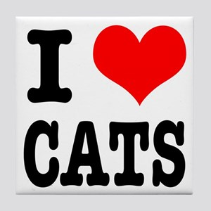 I Heart (Love) Cats Tile Coaster