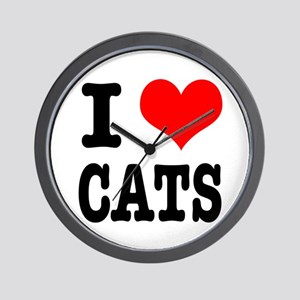 I Heart (Love) Cats Wall Clock