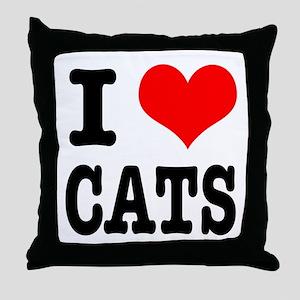 I Heart (Love) Cats Throw Pillow