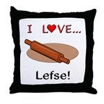 I Love Lefse Throw Pillow