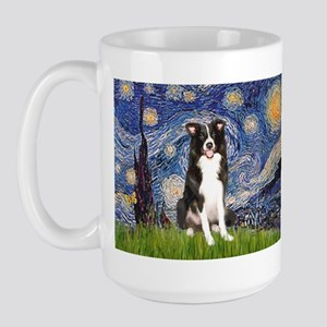 Starry Night Border Collie Large Mug
