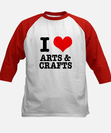 I Heart (Love) Arts & Crafts Kids Baseball Jersey